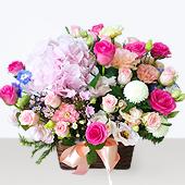 꽃바구니 > (대형)분홍수국꽃바구니1