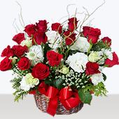 꽃바구니 > 빨강장미하얀리시안꽃바구니1